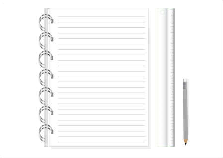 Notebook of  white note papers, ready for your message. Vector illustration and pencils Ruler. Vector