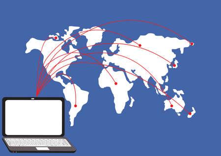コンピュータ ネットワーク、社会ネットワークの背景  イラスト・ベクター素材