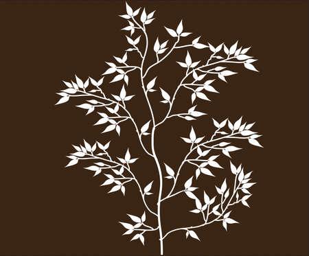 Vettore di Tree Branch Silhouettes con foglie Archivio Fotografico - 34529494