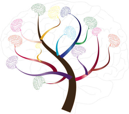 Brain tree illustration, tree of knowledge, medical, environmental or psychological concept