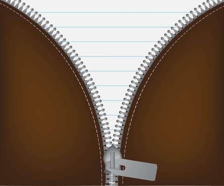unbuttoned: Vector illustration of cool detailed open white metallic zipper