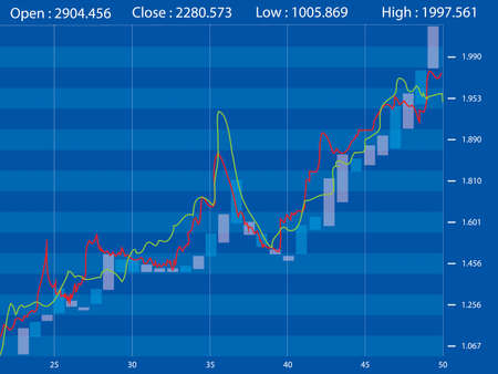 share prices: Stock Market Chart on Blue Background