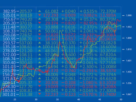 Financial diagram with candlestick chart used in stock market analysis for variation report of share prices Illustration