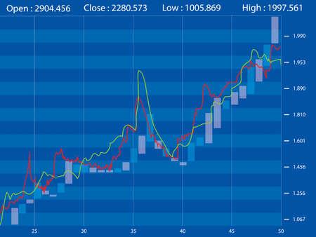 Stock Market Chart on Blue Background