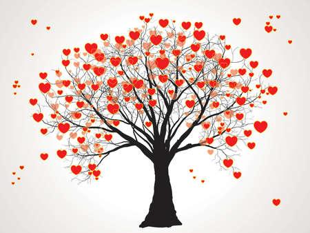 valentine tree with hearts Illustration