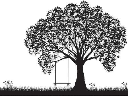 ベクトルの木のシルエット、花、草、黒と白のベクトル図形