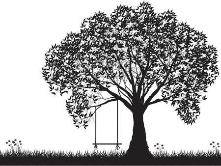Vector tree silhouette, flowers and grass, black and white vectorial shape,