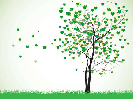 valentine tree: Valentine tree with hearts on a grass, illustration on white Background