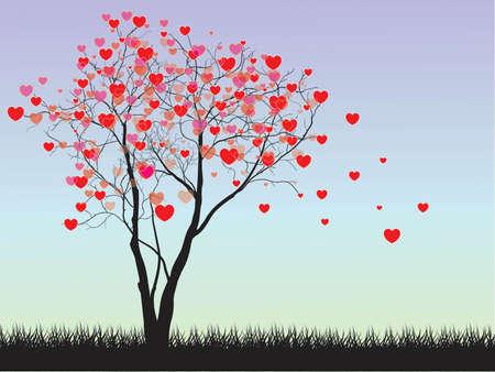 valentine tree: Valentine tree with hearts on a grass, illustration