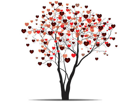 Valentine background with heart shaped tree. Vector.