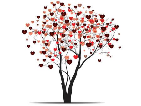 Valentine Hintergrund mit herzförmige Baum. Vector. Standard-Bild - 37652520