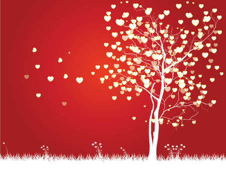 valentine tree: Valentine tree with hearts on a grass, illustration on Red Background Illustration