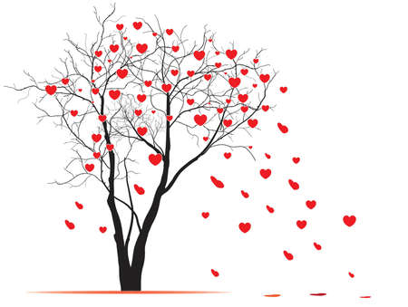 heart shaped leaves: Valentine day tree. Vector tree with heart shaped leaves blown by wind.