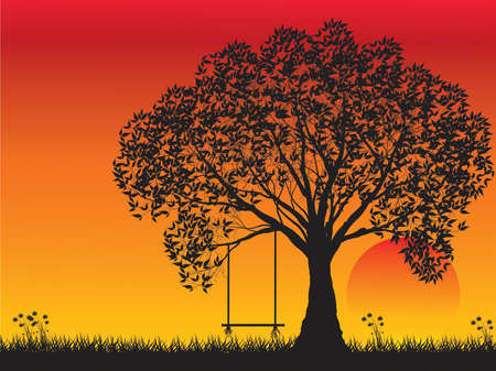 lonely tree: Lonely tree at sunset Illustration