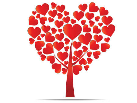 heartshaped: Heart-shaped red tree isolated Illustration