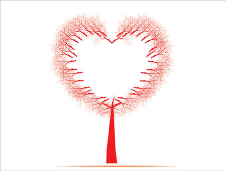 occasions: illustration of a love tree having heart shapes in red  on isolated background for Valentines Day and other occasions. Illustration