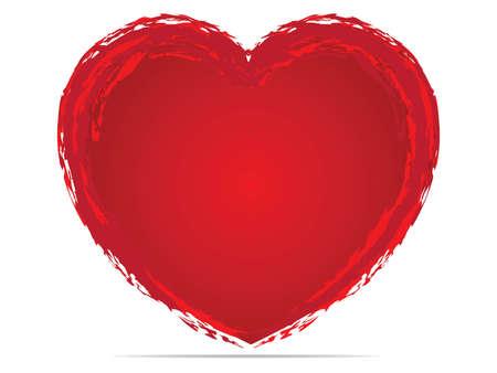 Borstel tekening kalligrafie hart, geïsoleerd op wit Stockfoto - 38638648