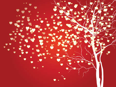 heart shaped leaves: Abstract vector heart shaped tree on red background
