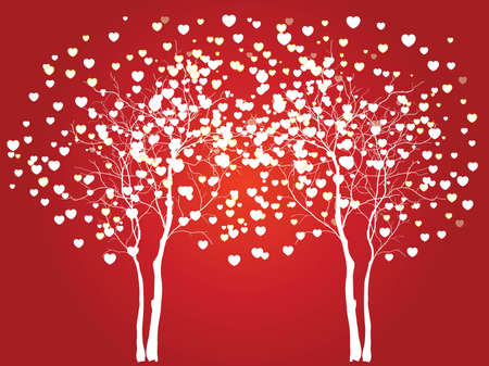 floral heart: Trees of love for your design Illustration