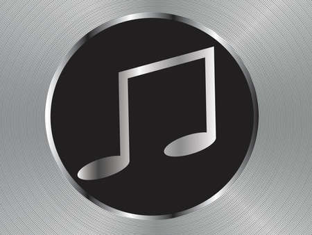 Vector metal multimedia musical note icon  button, design element