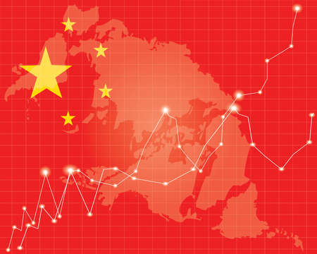 shareholding: Chinese Stock Market - Red  on Chinese Flag