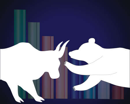 stock exchange brokers: Bull and bear stock market trends on them. Illustration