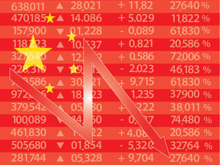 economic downturn: Chinese Stock Market - Arrow Graph Going Down on Red Chinese Flag,vector