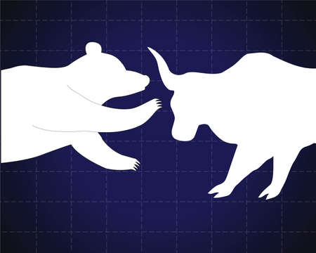 bear market: Bull and bear stock market trends on them. Vector illustration.