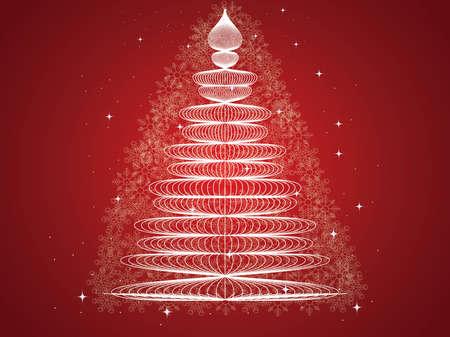 gold christmas background: Christmas background with Christmas tree, vector illustration. Illustration