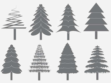 larch: chritmas tree silhouettes on the white background