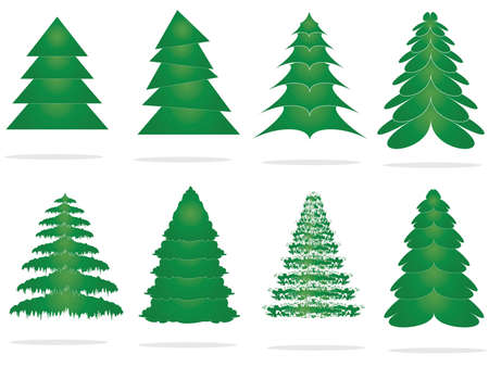 with leaves: Christmas trees