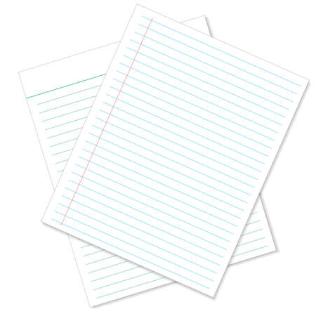 memo pad: Sheet of lined paper or notebook paper texture with left margin