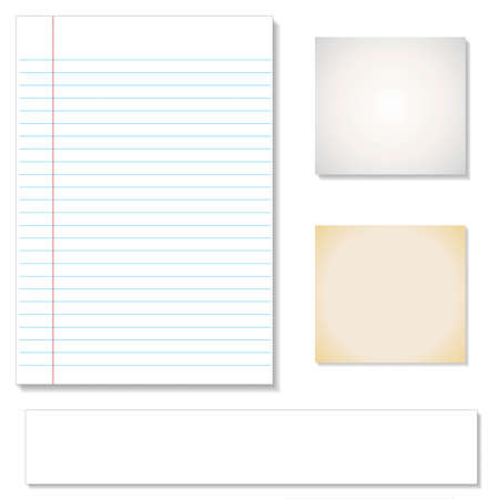 memo pad: Vector set: Vintage paper designs (paper sheets, lined paper and note paper)