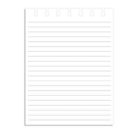 memo pad: page ripped off from the notebook. Illustration