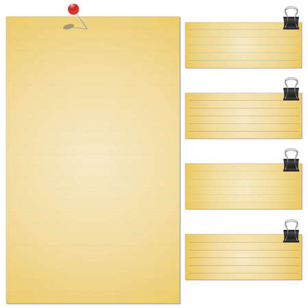 memo pad: Collection of various white note papers, ready for your message. Vector illustration. Illustration
