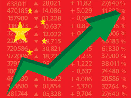Chinese Stock Market - Arrow Graph up on Red Chinese Flag,vector