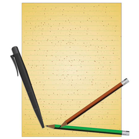 note pad: Note book paper with pencil and pen.