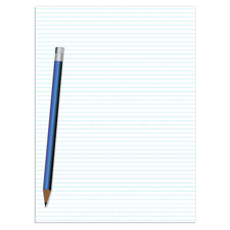 notebook: Lined paper with pencil vector. Illustration