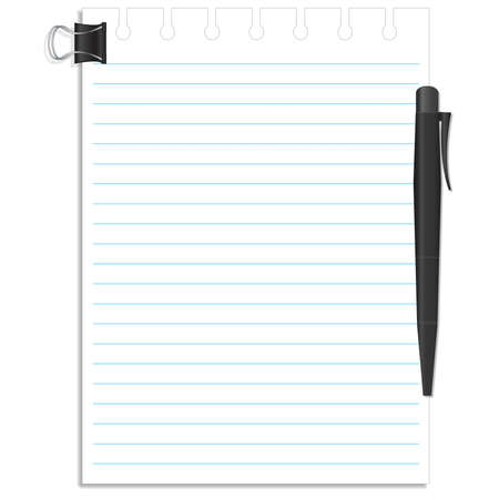 note pad: Notebook and pen on white background.
