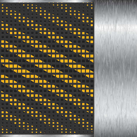 metallic background with grate texture and yellow and black stripes Stockfoto - 110428124