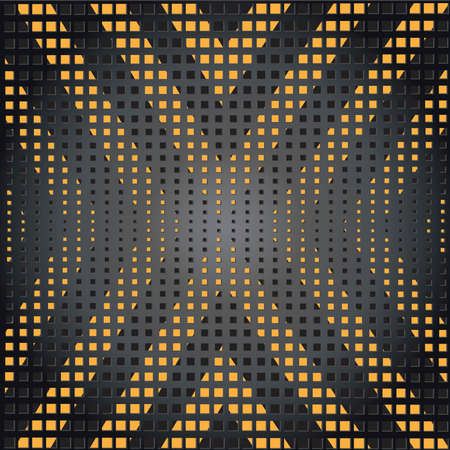 Vector Metal grid with yellow and black stripes