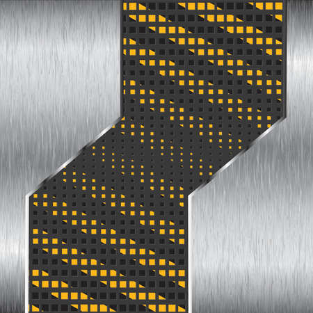 metallic background with grate texture and yellow and black stripes Zdjęcie Seryjne - 110428128