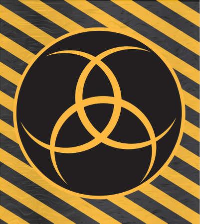 Nuclear radiation symbol on warning background