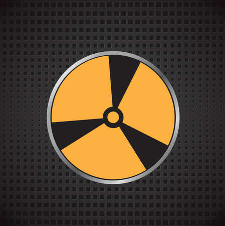 Nuclear sign. Vector illustration on a metal background
