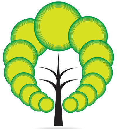 Vector tree emblem Çizim