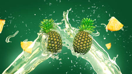 Fresh pineapple and slices in juice splash over green background Stock Photo