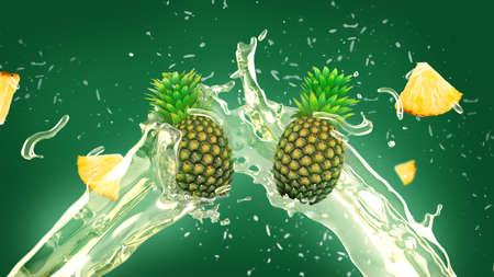 frutas tropicales: La piña fresca y rebanadas en jugo de salpicaduras sobre fondo verde