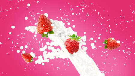 Strawberry in milk splash over pink background