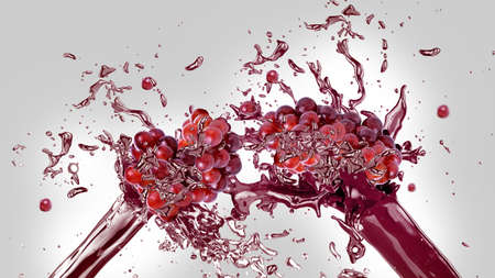vaso de jugo: Uvas rojas frescas en splash de jugo sobre fondo gris y blanco Foto de archivo