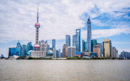 Cityscape of Shanghai Chinese ,Pudong lujiazui financial center aside the huangpu river, Shanghai is a International metropolis photo